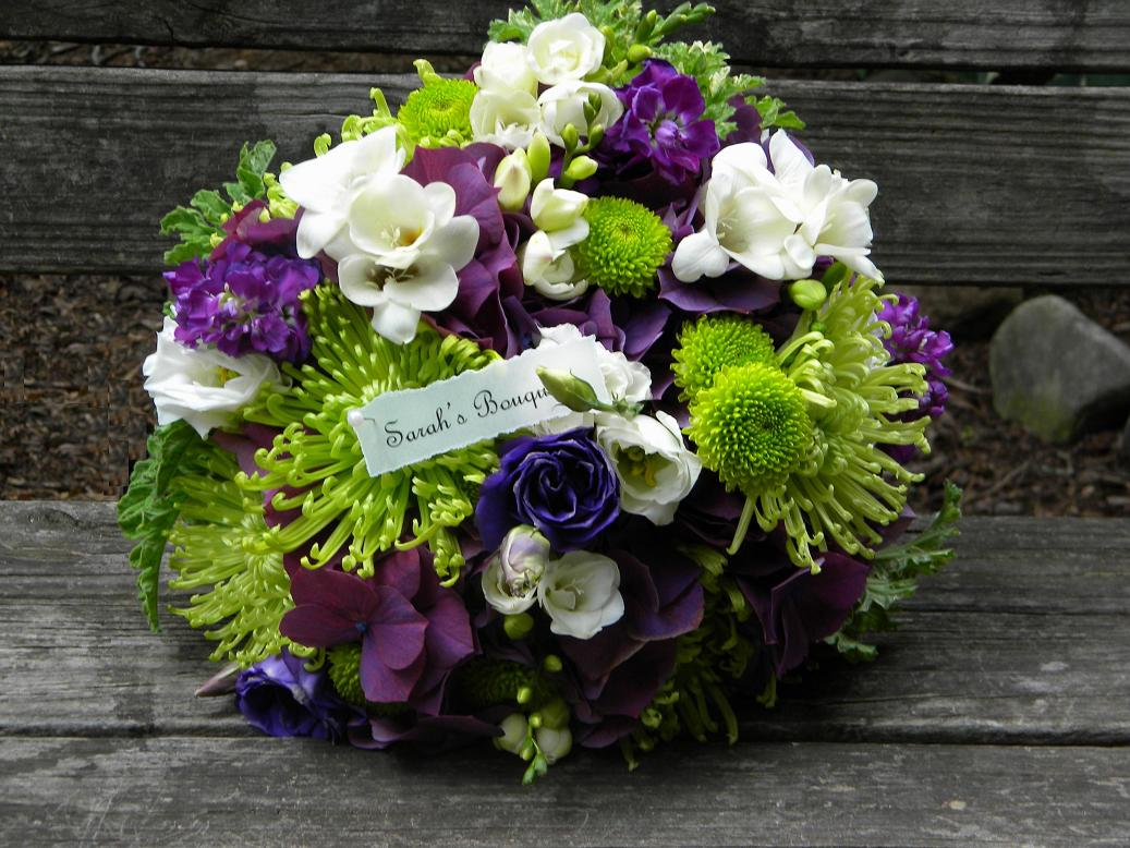 Purple And Green Hydrangea Centerpieces : Wedding flowers from springwell weddings looking back