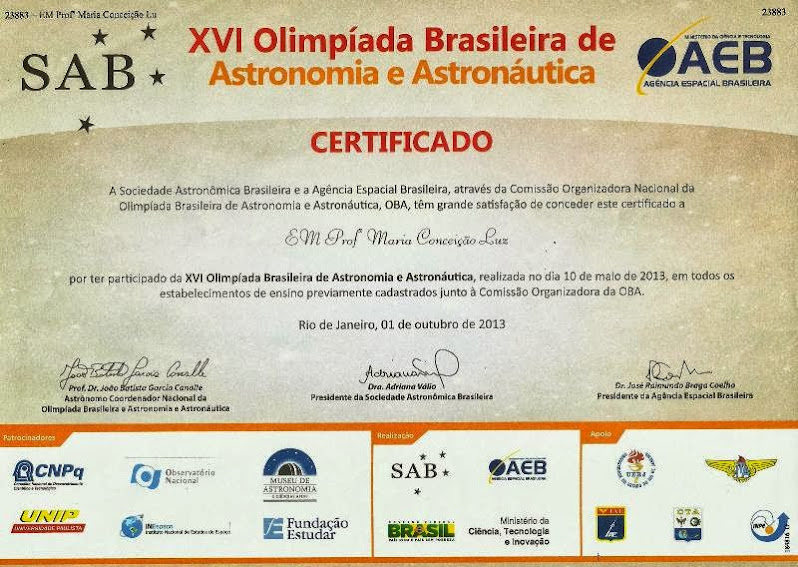 OBA - CERTIFICADO - 2013