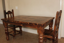 Table and chairs w/ teal inlay