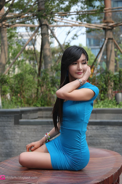 3 Cha Sun Hwa in Blue Mini Dress-Very cute asian girl - girlcute4u.blogspot.com