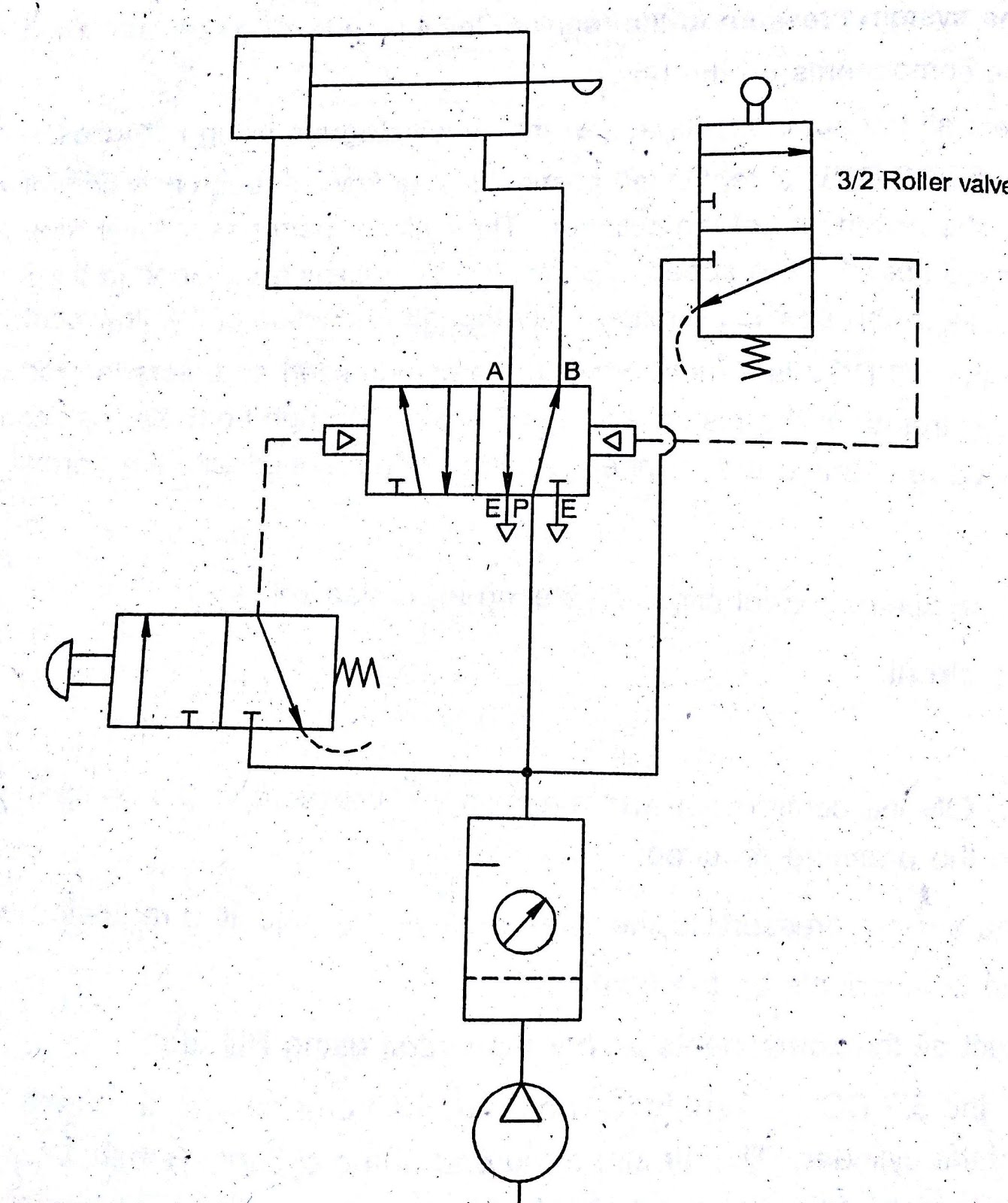machine drawing  double acting cylinder pneumatic circuit