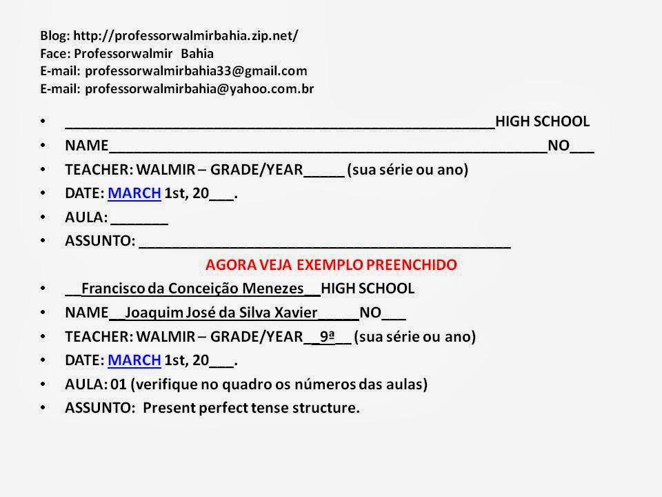 Famosos PROFESSOR WALMIR BAHIA - ENGLISH 3: Exemplo de Cabeçalho JY75