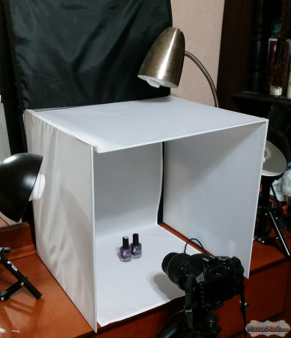 Light box set up for nail blogger