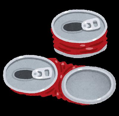 つぶした空き缶のイラスト(ゴミ出し)
