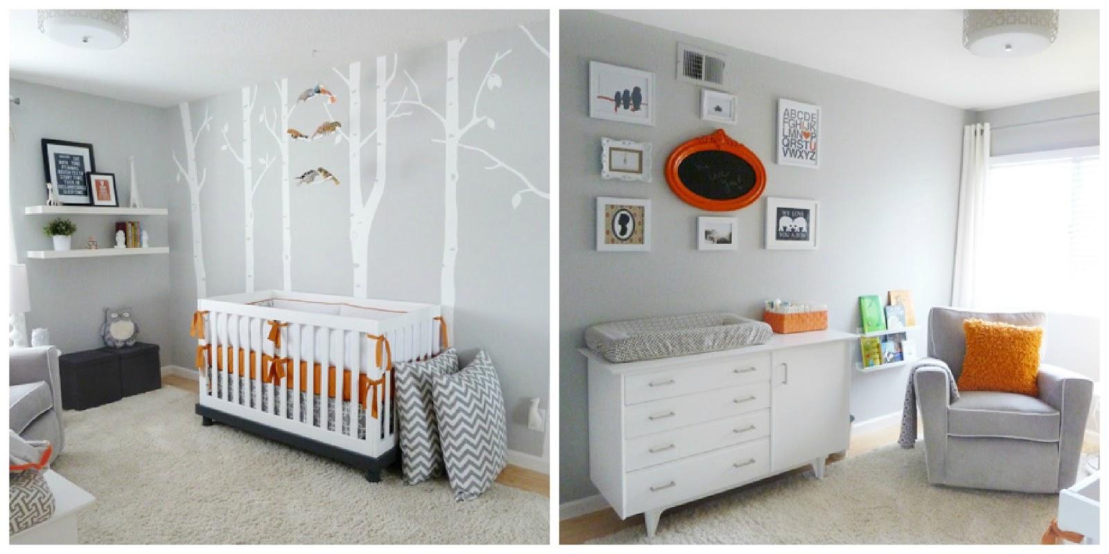 Eternamente flaneur gris y naranja para un cuarto de beb for Habitacion bebe gris