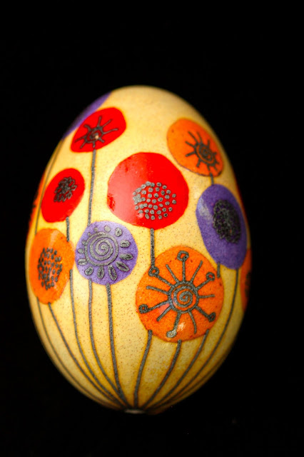 Contemporary Floral Pysanky Russian Ukrainian Easter Egg Batik Folk Art