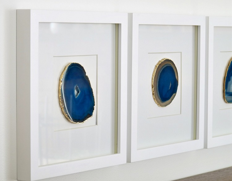 DIY Agate Art - Framed Blue Agate Slices | Dans le Lakehouse