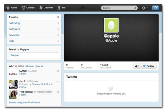 Un profil Twitter mal rempli