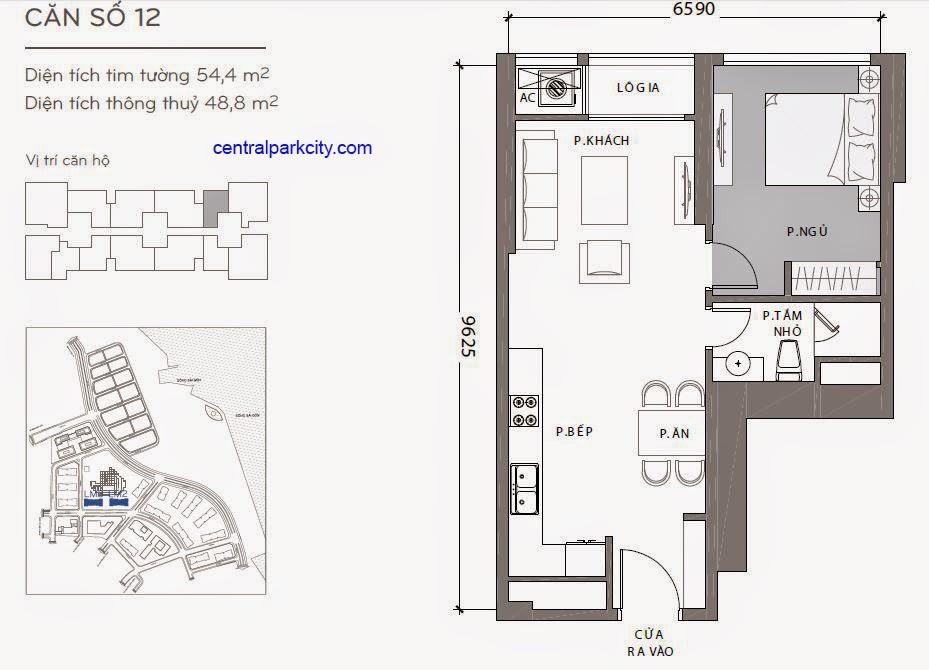 Căn hộ Landmark 2 & 3 - kiểu nhà số 12 - 54.2m2 - 1PN