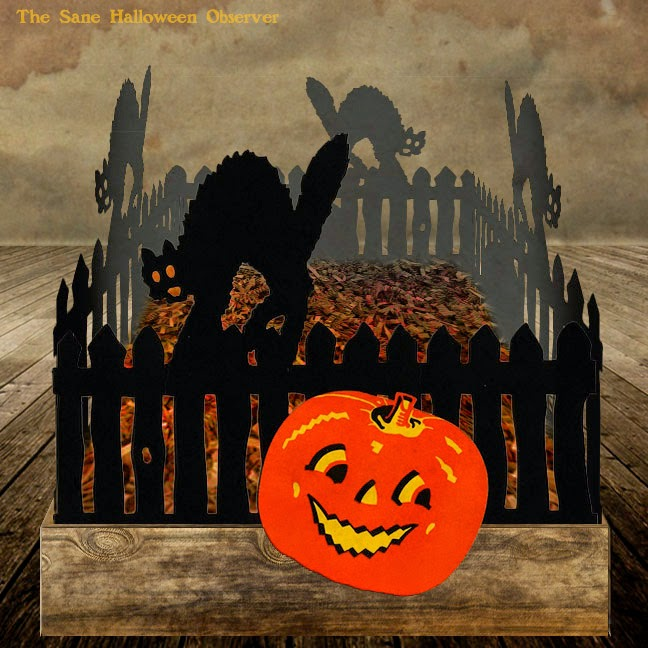 A digital recreation of a vintage Jack O'Lantern and Black Cat on fence party decoration originally produced by Dennison.