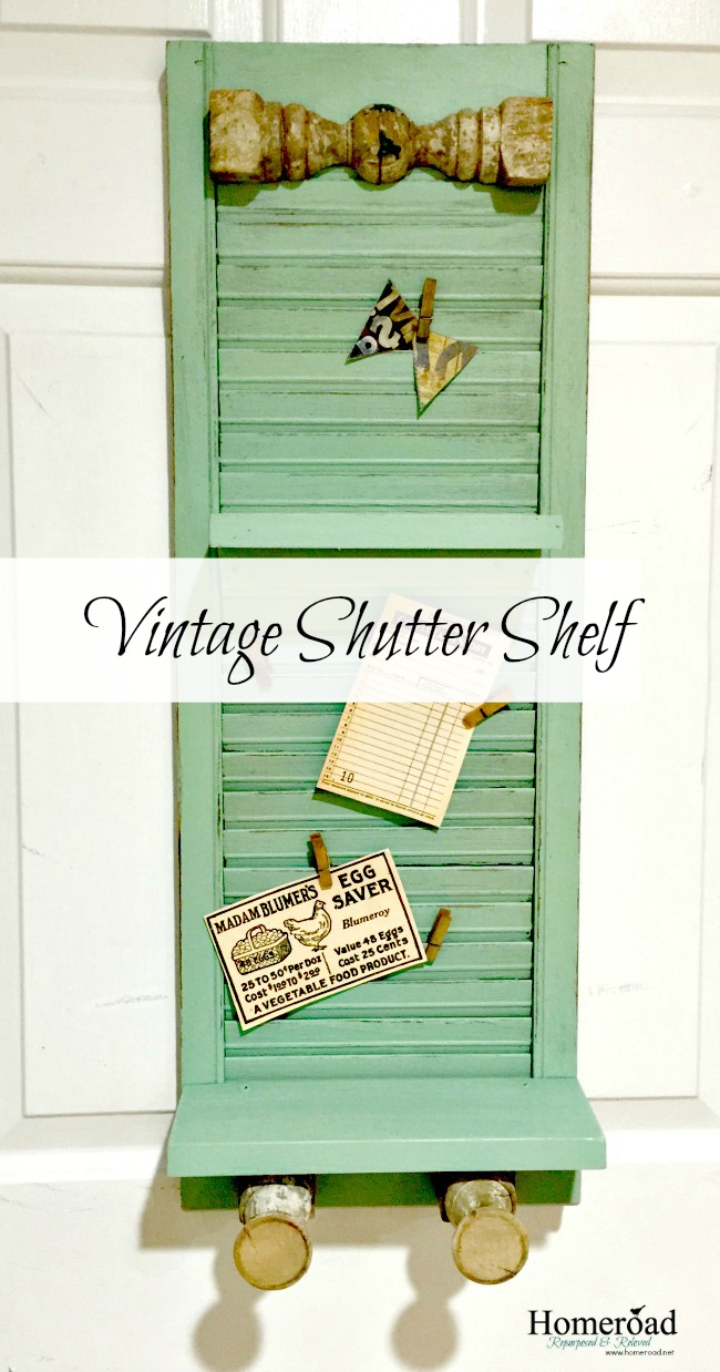 vintage shutter shelf with antique spindle hooks www.homeroad.net