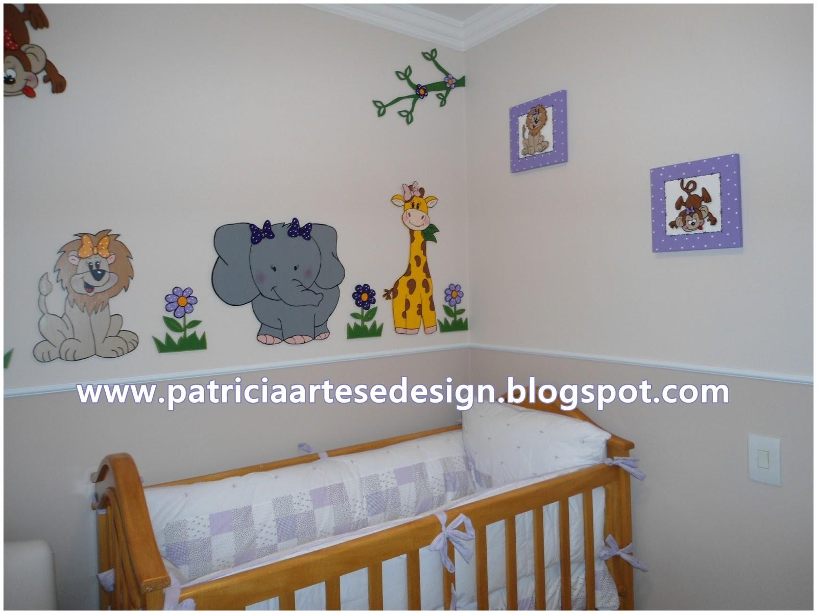 Patricia Artes e Design Painel Safari para Meninas, decoração de quarto de b