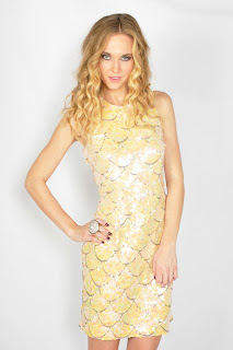 Vintage 1980's cream colored sequin embellished scalloped wiggle dress with open back.