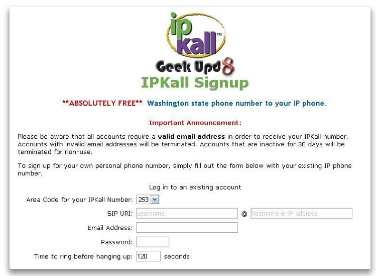 Step 5. Sign up at ipKall for US based number