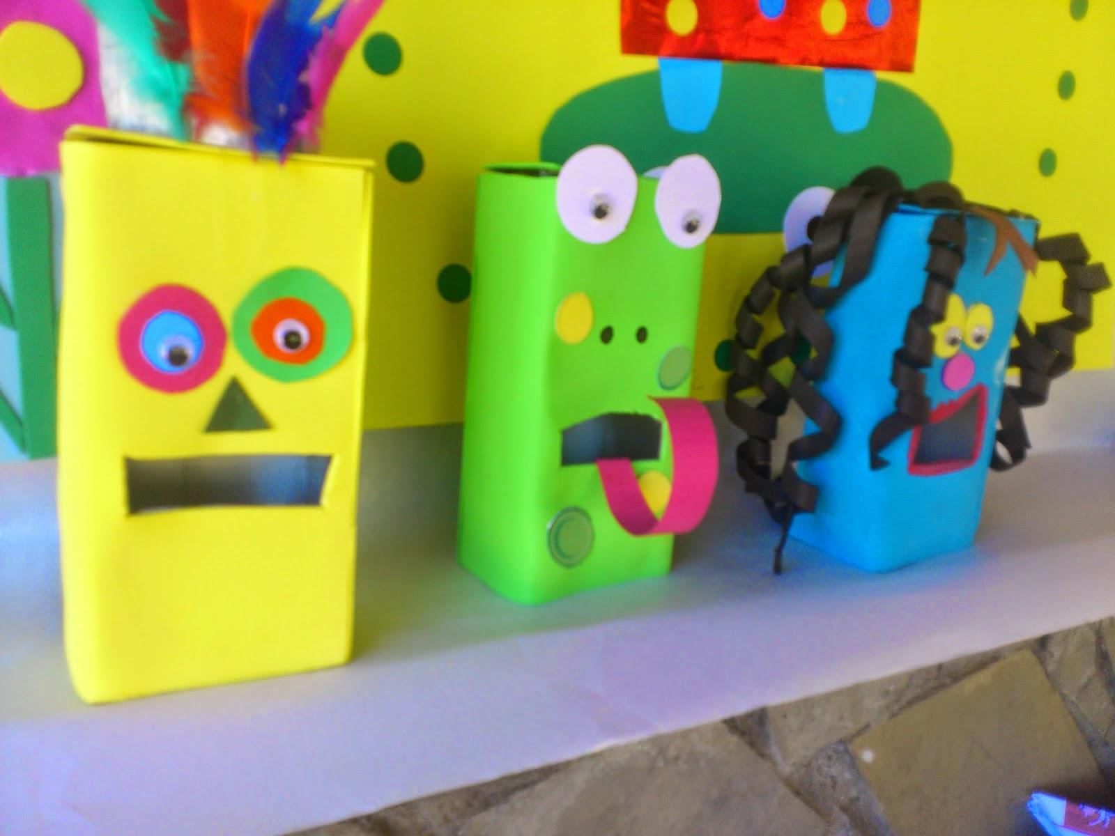 Reciclatex Como hacer papeleras con tetra briks Monstruos Comebasuras