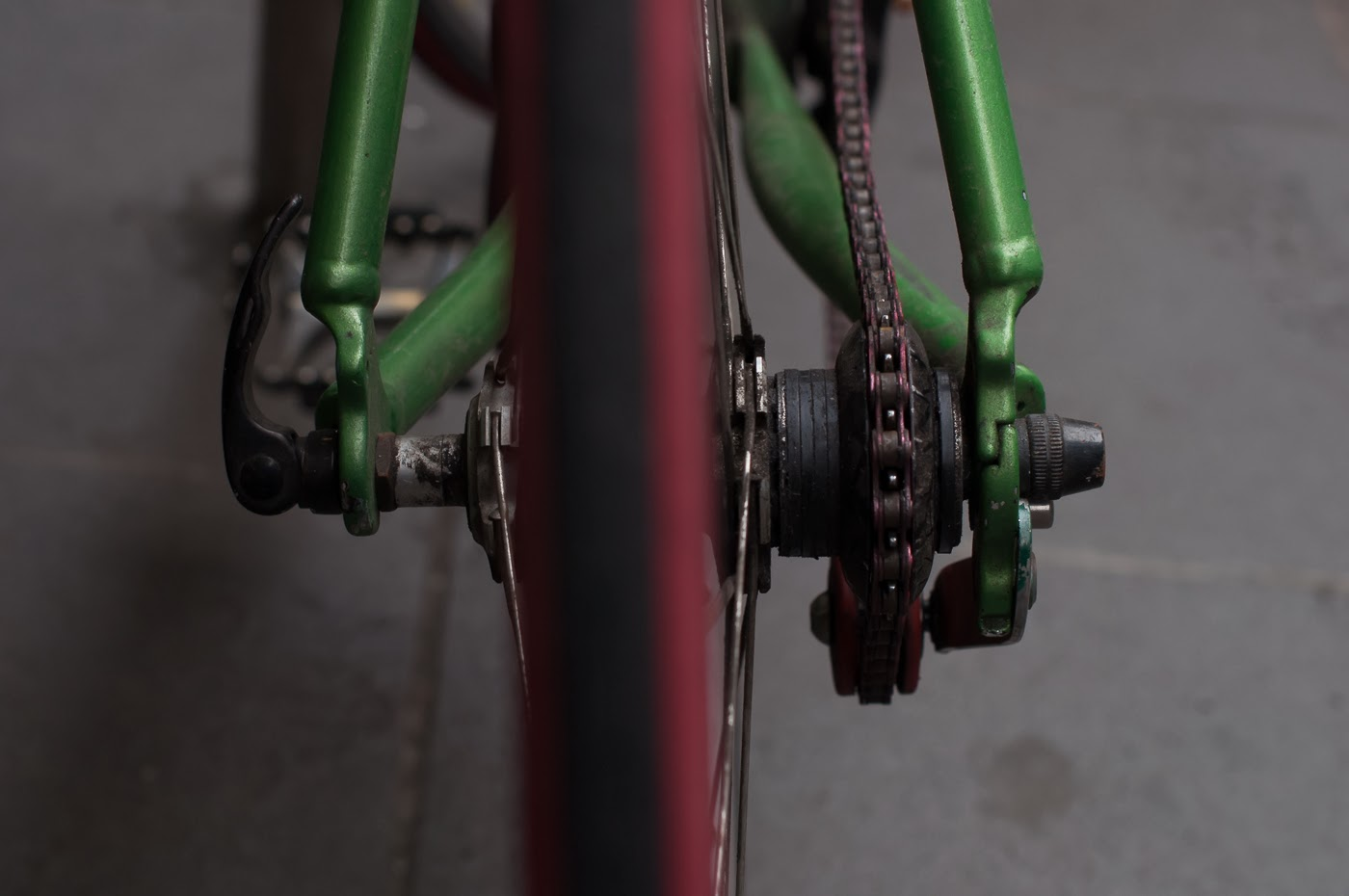 single speed, bike, bicycle, tim macauley, the biketorialist, melbourne, conversion, chain, tensioner road bik, mavic, rear cassette, cassette spacers, spacers
