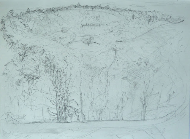 Gibbets Hill, Hindhead - pencil on paper, en plein air