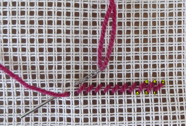how to continental stitch, how to tent stitch, continental stitch tutorial, tent stitch tutorials, continental stitch instructions, tent stitch instructions,