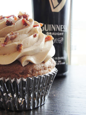 Guinness Spice Cakes with Brown Sugar Buttercream and Candied Bacon