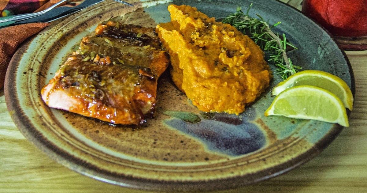 Honey Ginger Glazed Salmon with Chinese Five Spice Mashed Yams | the ...