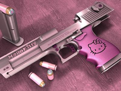 Hellokitty Funny Pink Desert Eagle Gun and Bullets Desktop Wallpaper