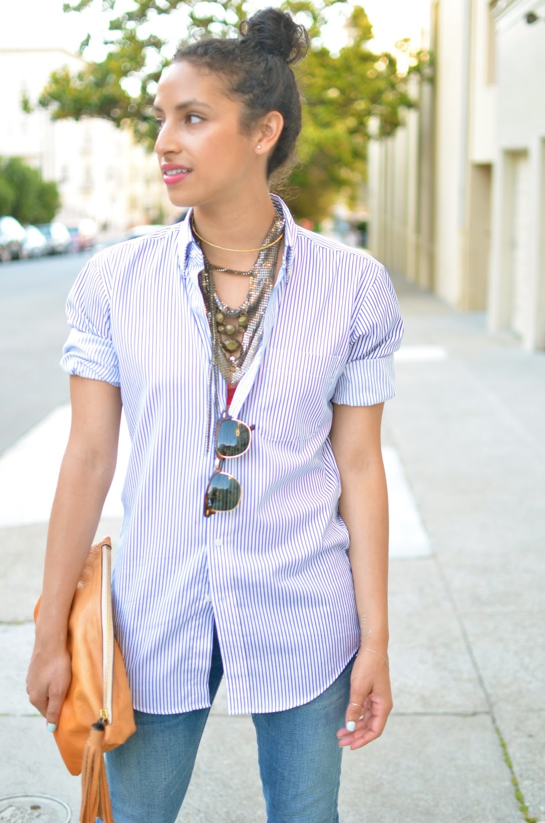 SF parakeet, striped buttondown, classic basics, basics, tan clutch, neck jewelry, happy girl