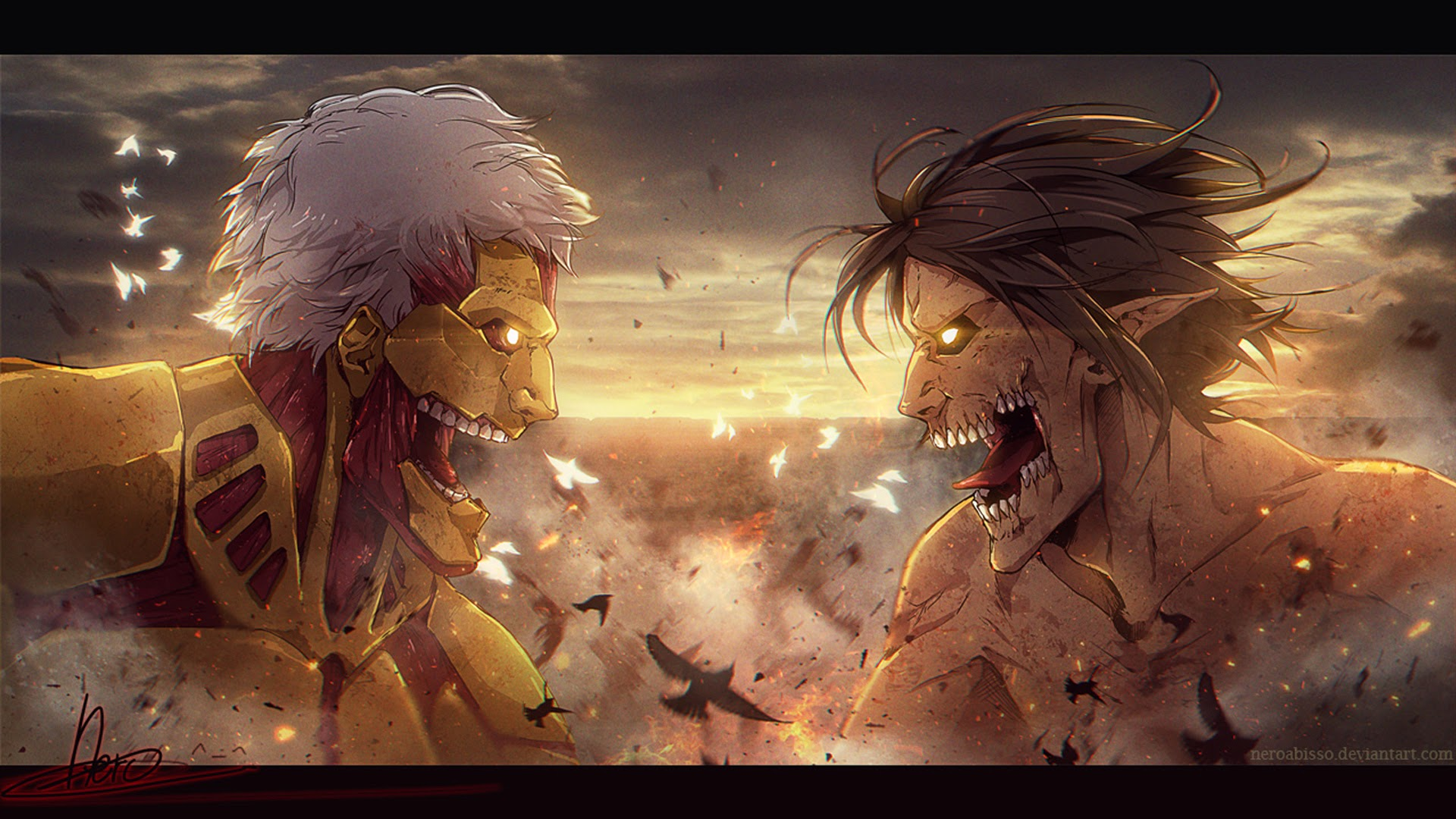 armored titan vs rogue titan 27 wallpaper hd