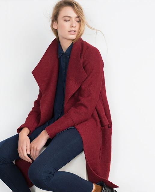 zara burgundy coat,