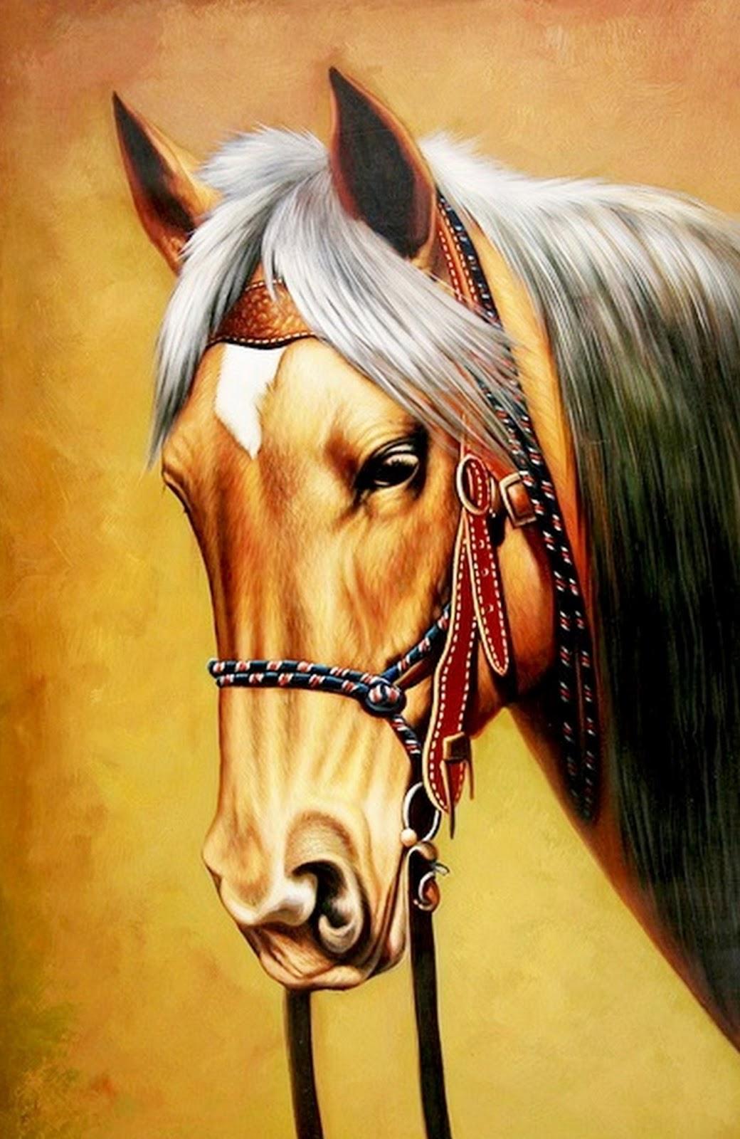 Cuadros pinturas oleos cuadros cabezas de caballos - Cabezas de animales decoracion ...