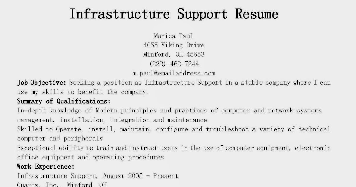 resume sles infrastructure support resume sle