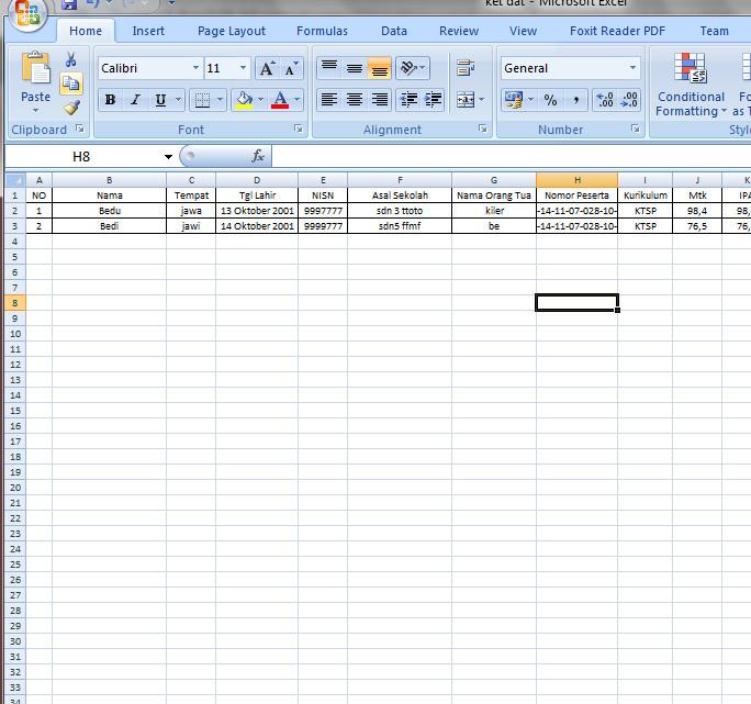 Form Excel Pengisian Data Siswa