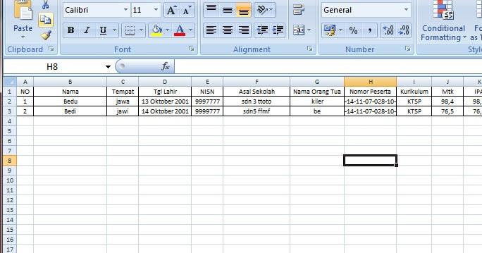 Contoh Surat Keterangan Lulus Sd Tahun Pelajaran 2015 2016 Otomatis Menggunakan Excel Wiki Edukasi