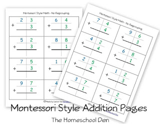 Worksheets Montessori Math Worksheets the homeschool den montessori math addition and subtraction free style sheets place value activities