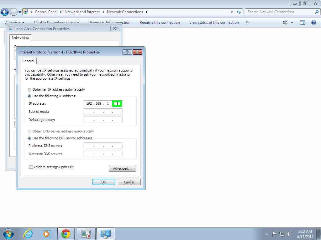 manually change your ip address
