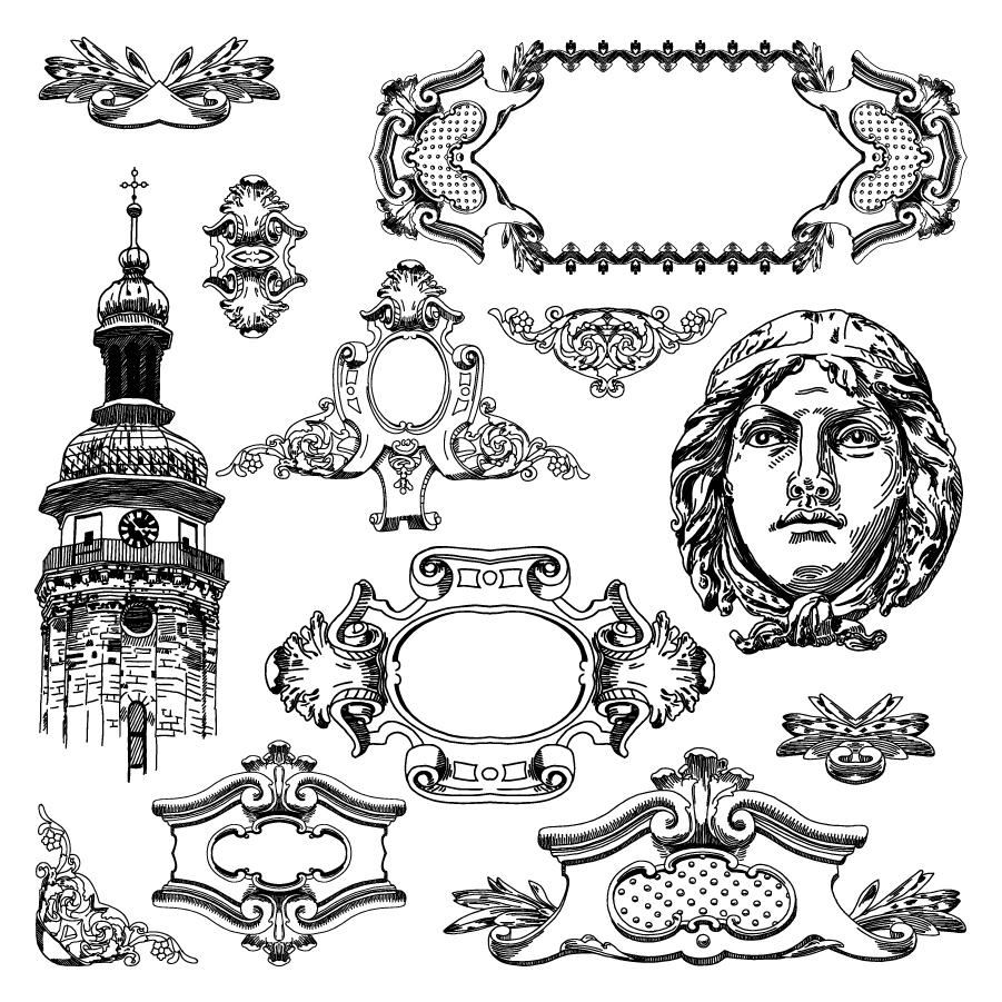 レトロなヨーロピアン パターンの修飾素材 european pattern border イラスト素材