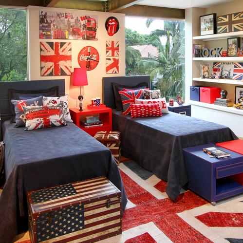 Quarto de menino inspirado em londres m e bacana for American flag bedroom ideas