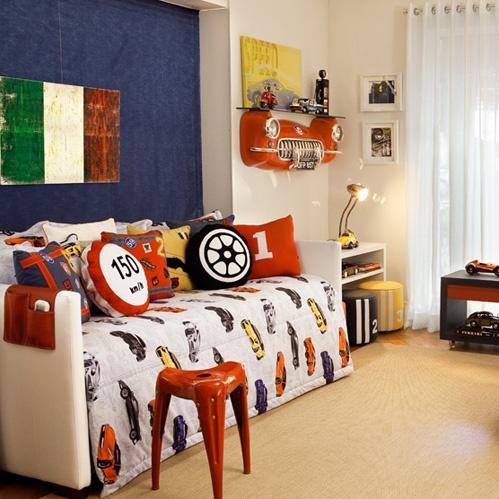 tema automobilismo na decoração do quarto