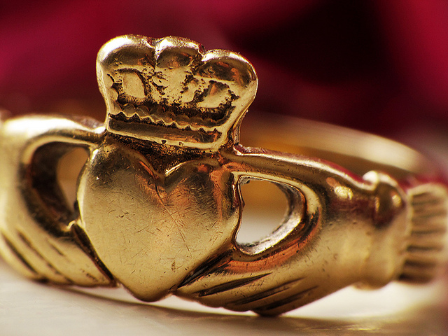A well-worn gold Claddagh ring