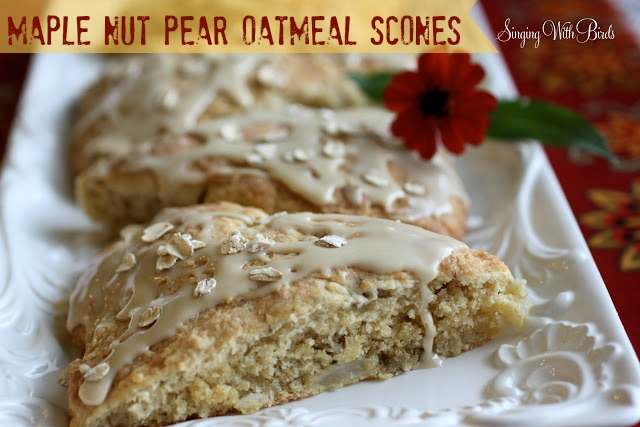 Maple Nut Pear Oatmeal Scones