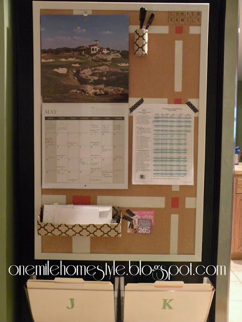 Bulletin board command center with calendar