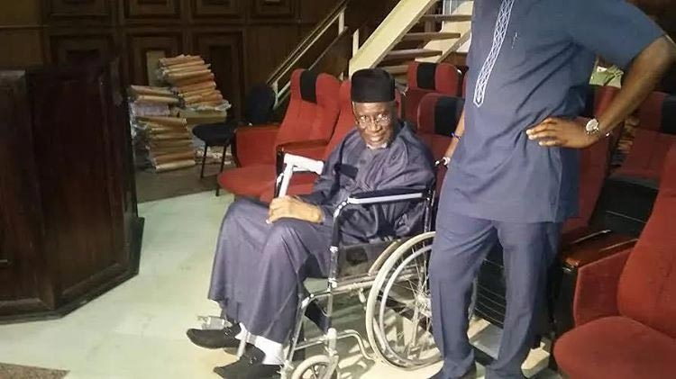 Photo: Former PDP Chairman Haliru Mohammed Appears In Court On A Wheelchair