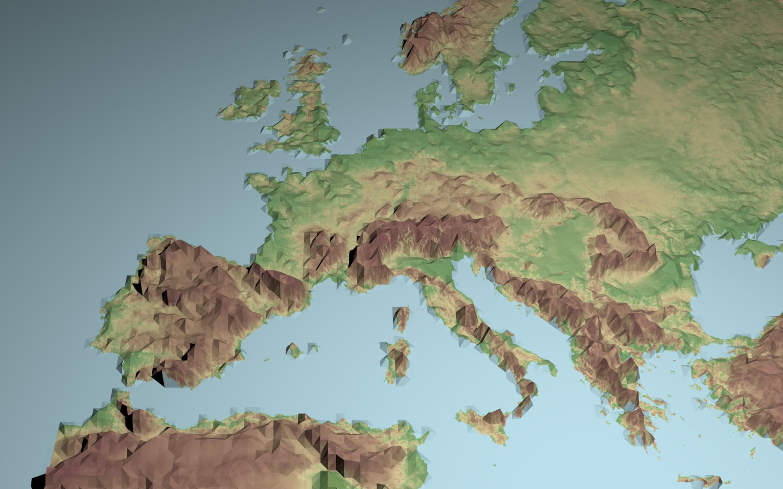 Low Polygon D Europe Map - Europe terrain map