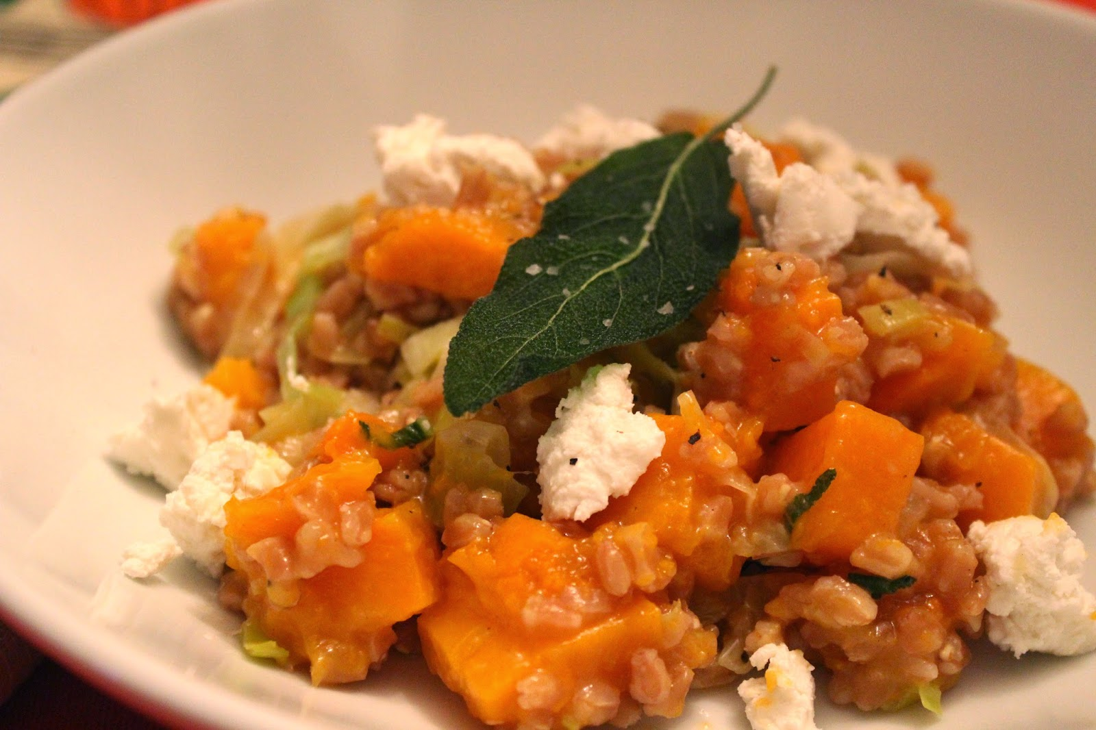 Farro risotto with butternut squash, sage, and goat cheese