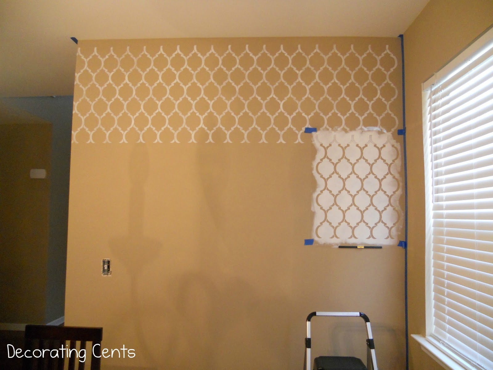 decorating cents a stenciled wall. Black Bedroom Furniture Sets. Home Design Ideas