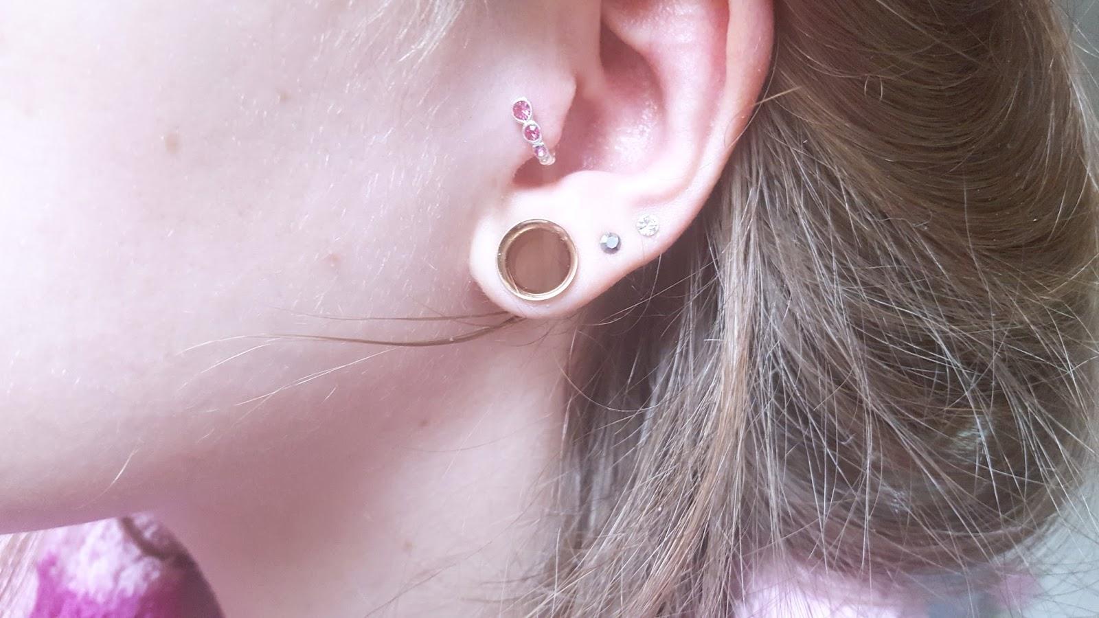Jewelled BioFlex & Silver Tragus Cuff - Pink