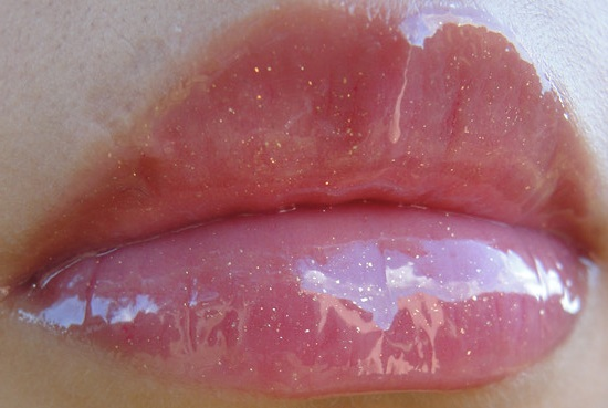 pink lip gloss swatch