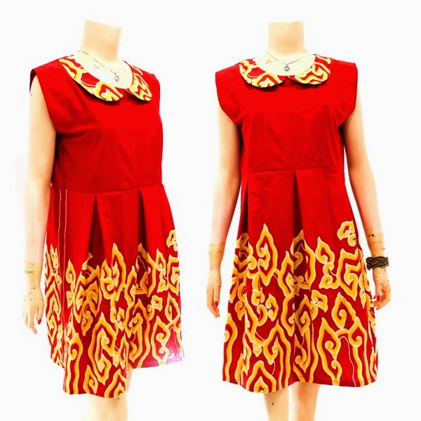 DB3761 Model Baju Dress Batik Modern Terbaru 2014