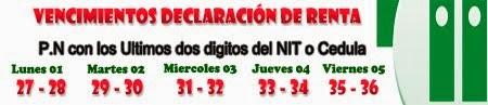 Vencimientos declaración de renta personas naturales 2013