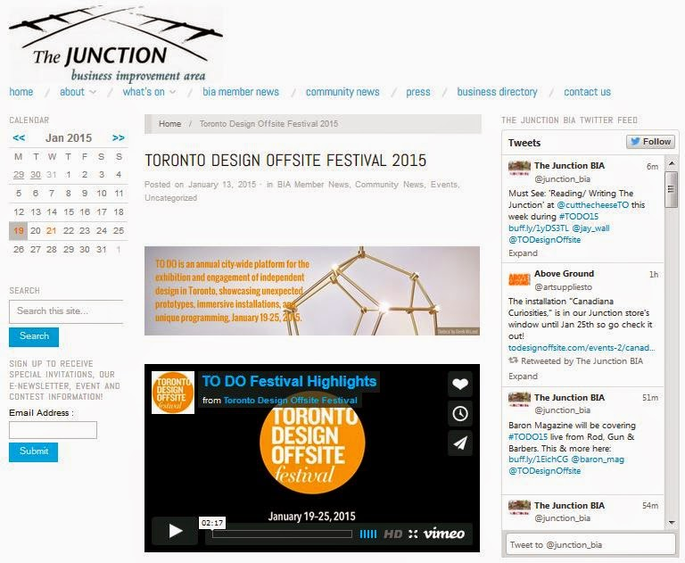 The Junction BIA: Toronto Design Offsite Festival 2015, screenshot
