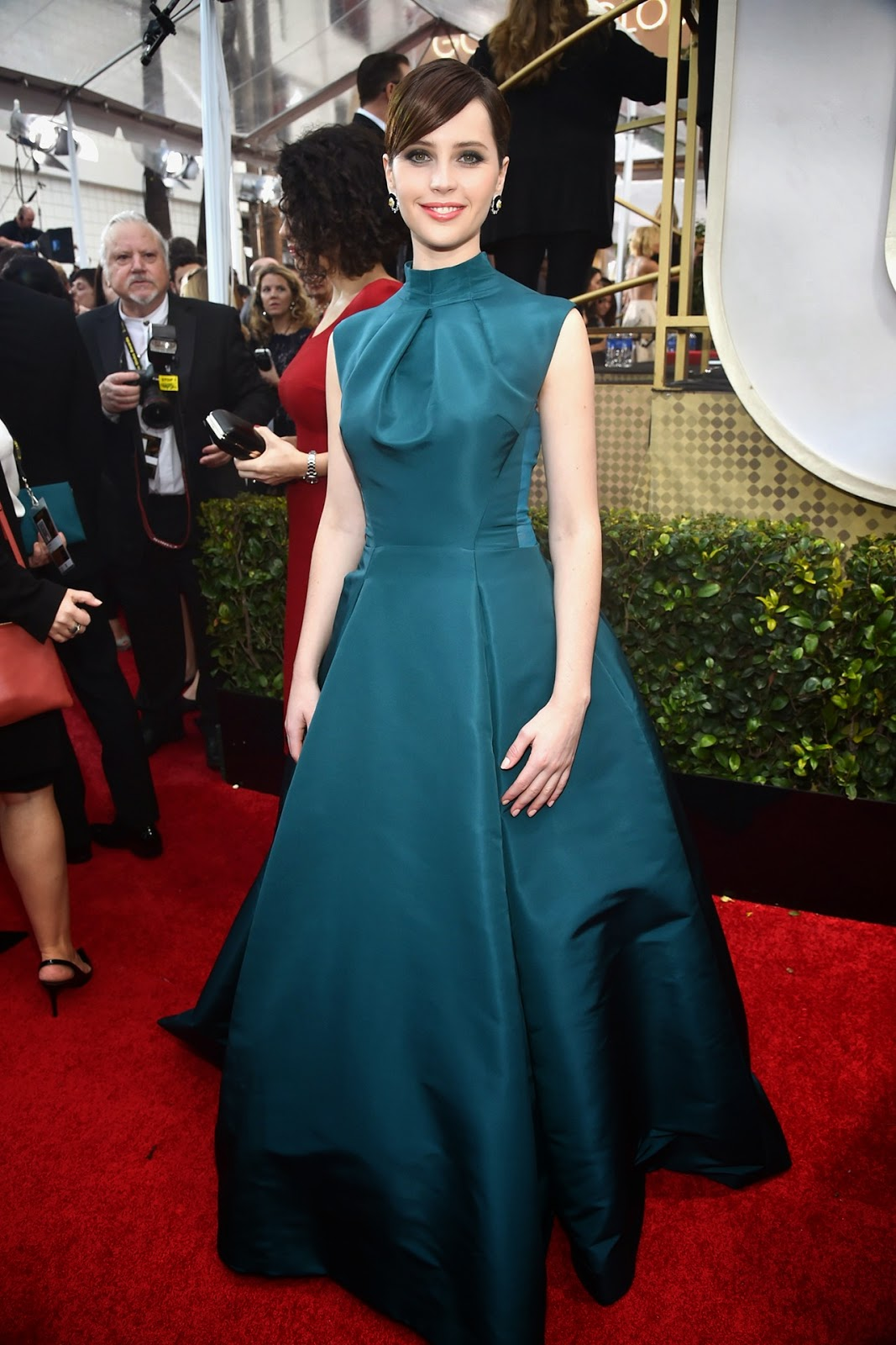 Felicity Jones in Dior at the Golden Globe Awards 2015